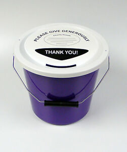3-Charity-Fundraising-Money-Collection-Buckets-With-Lids-Labels-amp-Ties-Purple
