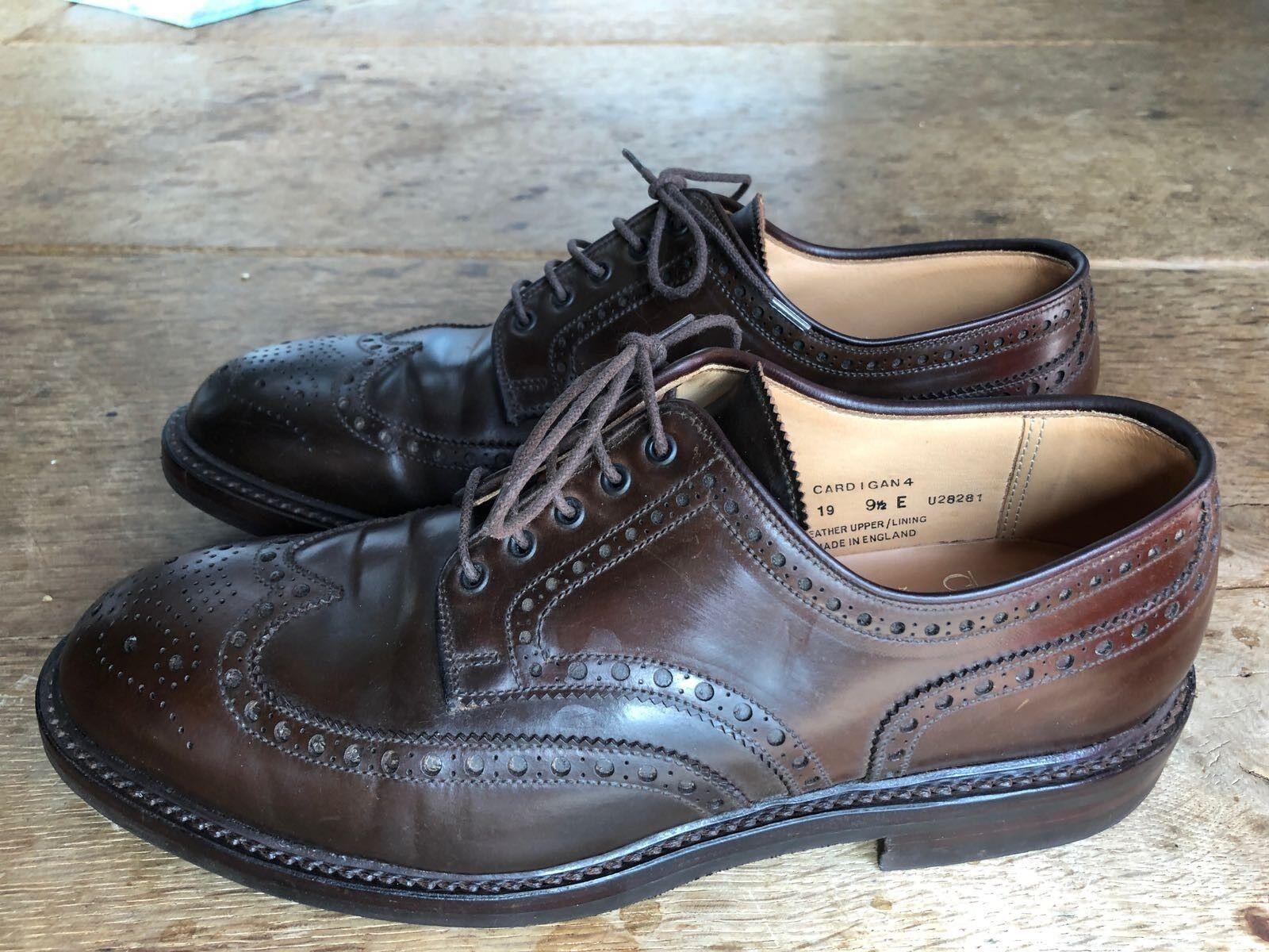 CROCKETT & Jones Cardigan 4 calata in pelle scarpe fatte a mano da uomo Cordovan 9.5 e 44