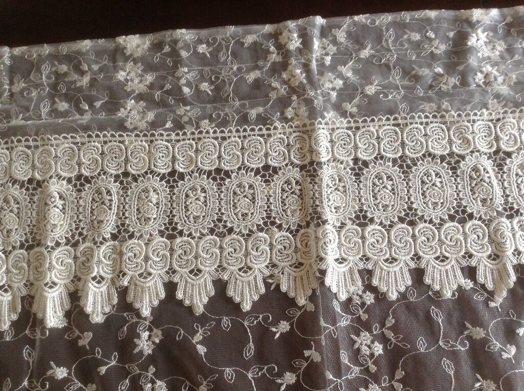 French Country Rosa with Macrame-54 x84 -Floral -Floral -Floral Curtain-Cream 1b98dc