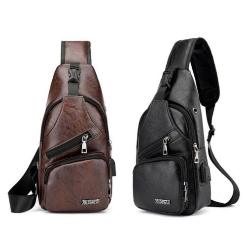 Men/'s Leather Sling Chest Bag Shoulde Casual Bags Crossbody Pack Travel Backpack