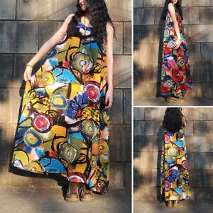 ZANZEA-Womens-Summer-Sleeveless-Vintage-Printed-Casual-Loose-Kaftan-Baggy-Dress