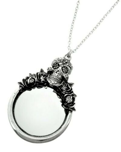 Angel Owl Moon Star Long Necklace Chain Magnifying Glass Sugar Skull Roses