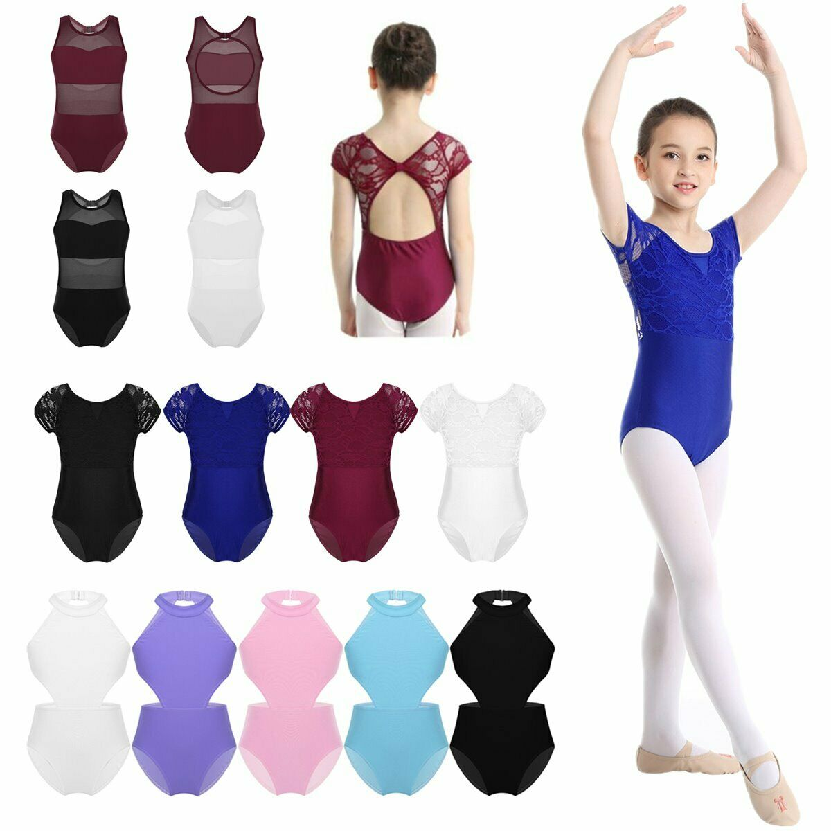 Girls Kids Gymnastics Leotard Dance Ballet Unitards Jumpsuit Mesh Splice Costume