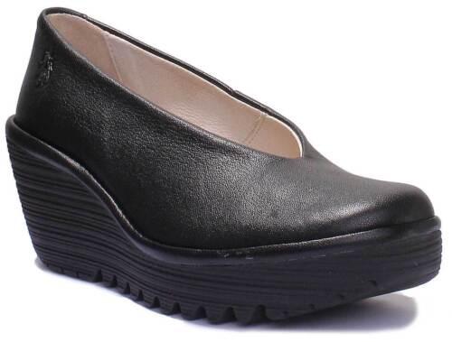 Platform Black Uk Shoes 8 Leather Fly Heel Eur Yaz 41 Wedge Rrp Pumps £95 London UwUqIFCB