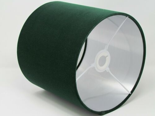 Dark Forest Green Velvet Brushed Silver Metallic Drum Lampshade Light shade