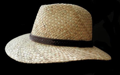 Herrenhut Naturale Paglia Traveller appena Tesa FEDORA protezione solare paglia Cappelli Cappelli