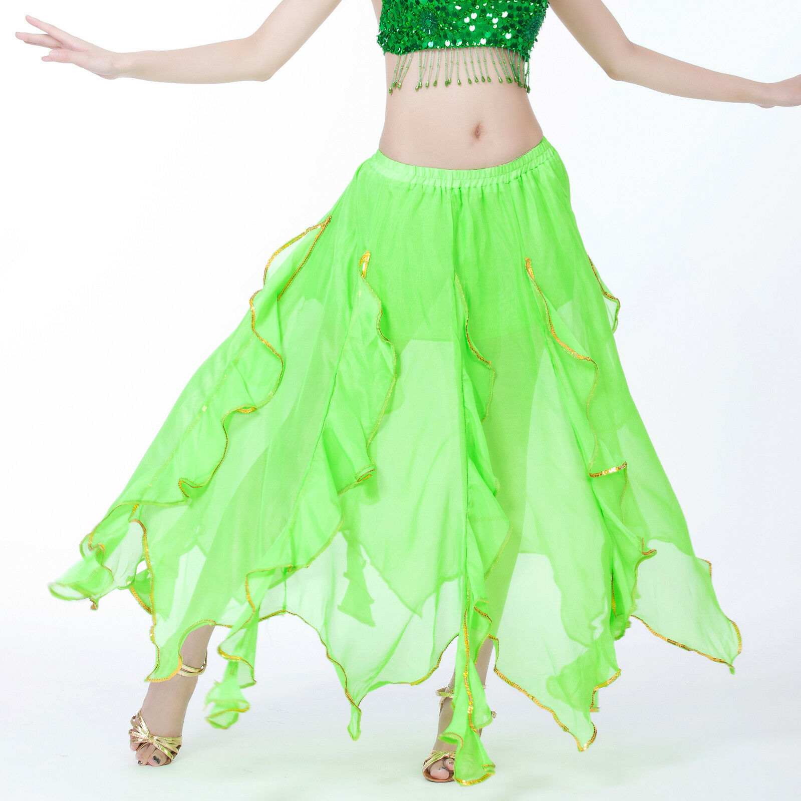 Belly Dance Costume Gold Coins Skirt 12 Colors