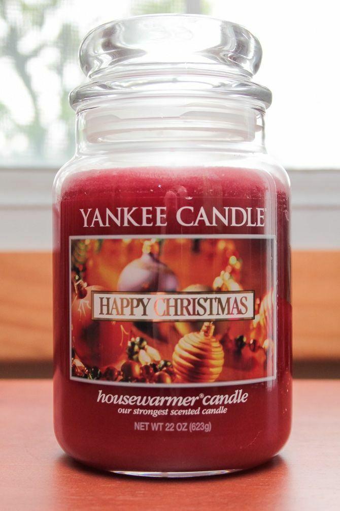RARE 22oz YANKEE CANDLE Holiday HAPPY CHRISTMAS rot JAR CANDLE HTF