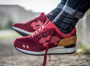 Asics Gel Lyte III Men Burgundy/Fiery Red Shoes
