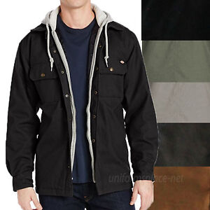 Dickies Jackets Mens Canvas Overshirt Quilted Lining Fleece Hooded ...