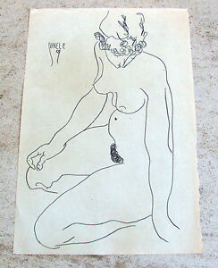 Egon-Schiele-double-signed-original-pencil-study-039-Sitzender-weiblicher-Akt-039