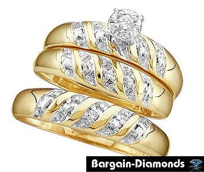 Matching Wedding Rings For Bride And Groom.Diamond 07 Carat 3 Band 14k Gold Wedding Ring Set Bridal Bride Engagement Groom Ebay