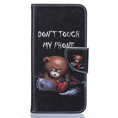 Flip Printed Design Card Wallet PU Leather Case Cover For Various Smart Phones#E