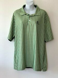 Adidas-Climacool-Mens-Golf-Polo-Shirt-Large-Short-Sleeve-Green-Plaid-Ko-Olina