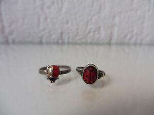 2-schone-alte-Ringe-925-u-830-Silber-Marienkafer