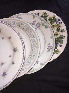 4-Vintage-Mismatched-China-Salad-Dessert-Plates-Wedding-Purple-75