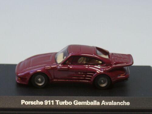 dunkelrot met - 87655-1:87 BOS Porsche 911 Turbo GEMBALLA Avalanche 1986