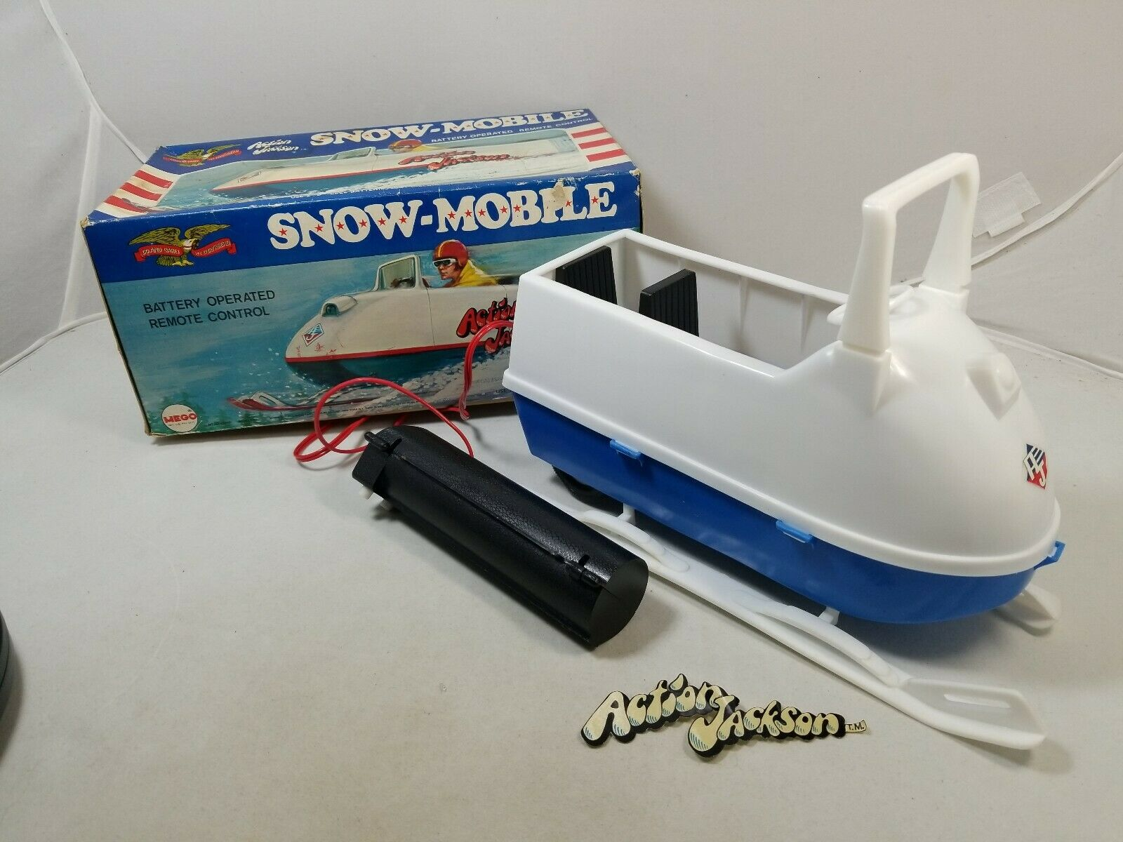 Vintage Mego Action Jackson SNOWMOBILE with box  Adventure action figure
