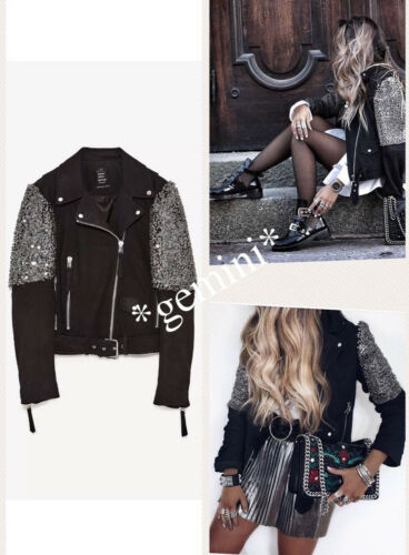 Leather Embroidered Jacke Stickerei Zara Lederjacke Biker Perlen M Jacket Studed wqZxx1FRt