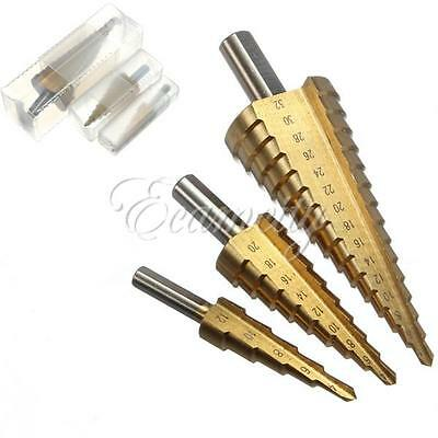 3pcs 4-12/20/32mm High Strength Steel Step Cone Drill Titanium Bit Hole Cutter