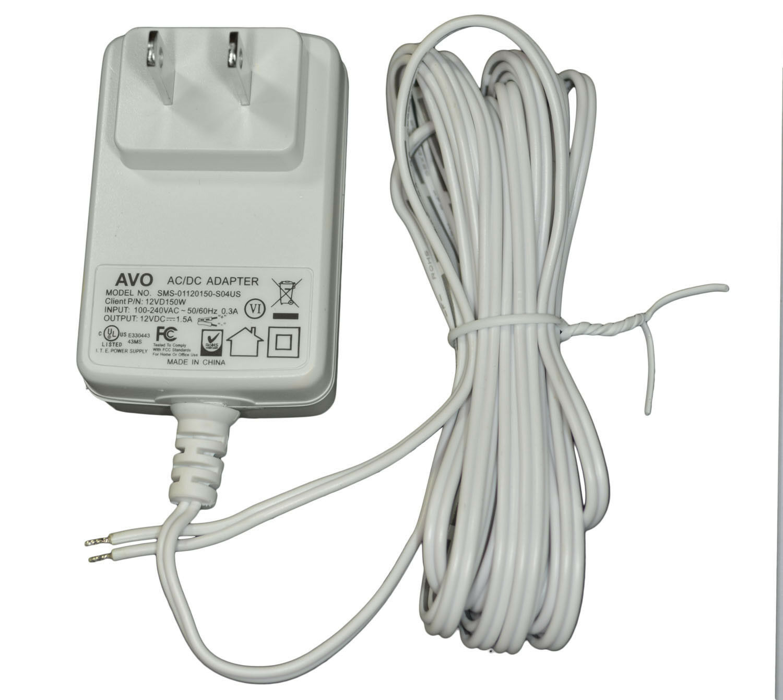 AVO 12VD150W 12VDC 1.5Amp White DC Power Supply Wall Plug Adapter - 10 Foot Lead
