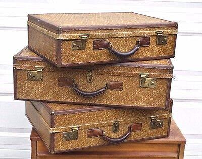 SET Vintage Mid Century Modern Hartmann Wings Woodbox Pullman Suitcase Luggage