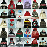 PRIMARK CHRISTMAS WINTER HAT LADIES MEN'S BOBBLE HAT POM POM BEANIE ONE SIZE NEW