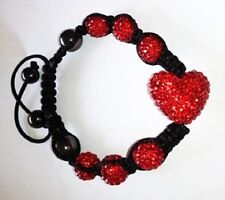 SPARKLY RED LARGE HEART SHAMBALLA BRACELET- MACRAME -CZECH CRYSTAL-UK SELLER