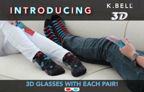 K.Bell Bright Red Blue Musical Notes 3D Socks With 3D Glasses Crew Socks New