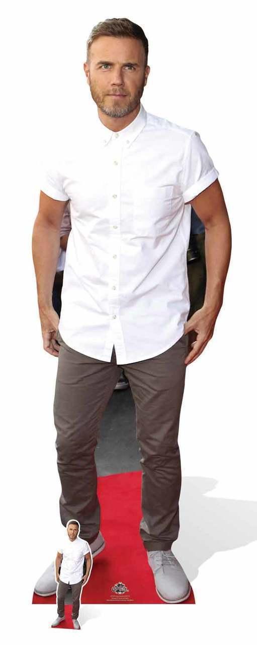 Gary Barlow Weiß Shirt LifeGröße & Mini Cardboard Cutout   Standee   Standup pop