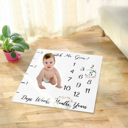 Milestone Photography Baby Boy Girl Blanket Monthly Flowers Numbers Photo Props