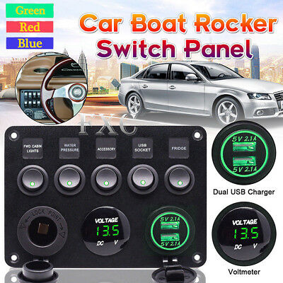 5 Gang Toggle Switch Panel Breaker Green LED Voltmeter RV Car Marine Boat  12-24V | eBay