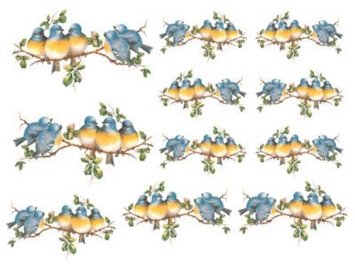 Vintage Image Shabby Bluebirds on Tree Branch Transfers Waterslide Decals BIR800