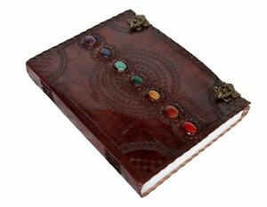 GENUINE HANDMADE LEATHER JOURNAL SEVEN MEDIEVAL STONE WITH C-CLASP LOCK DAIRY 8903557591811