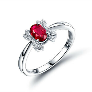 .55ct Ruby & Diamond Engagment Wedding Fine Vintage Ring in 18K White Gold