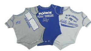 Middle Tennessee State Blue Raiders NCAA Baby Infant Size 3 Piece Creeper Set
