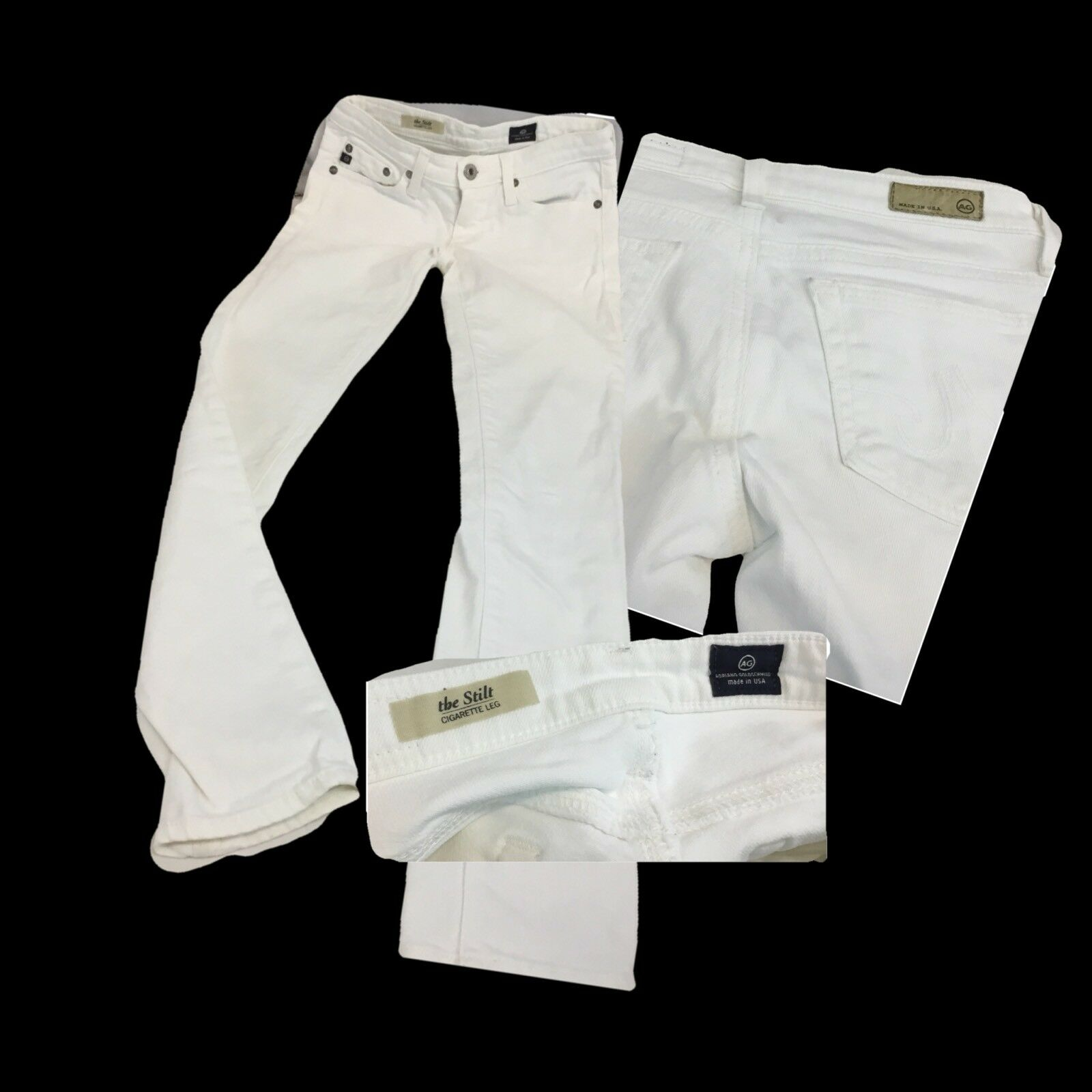 Adriano goldschmied Jeans Sz 24 White Cotton Lycra Cig Leg Worn Once YGI H8-249