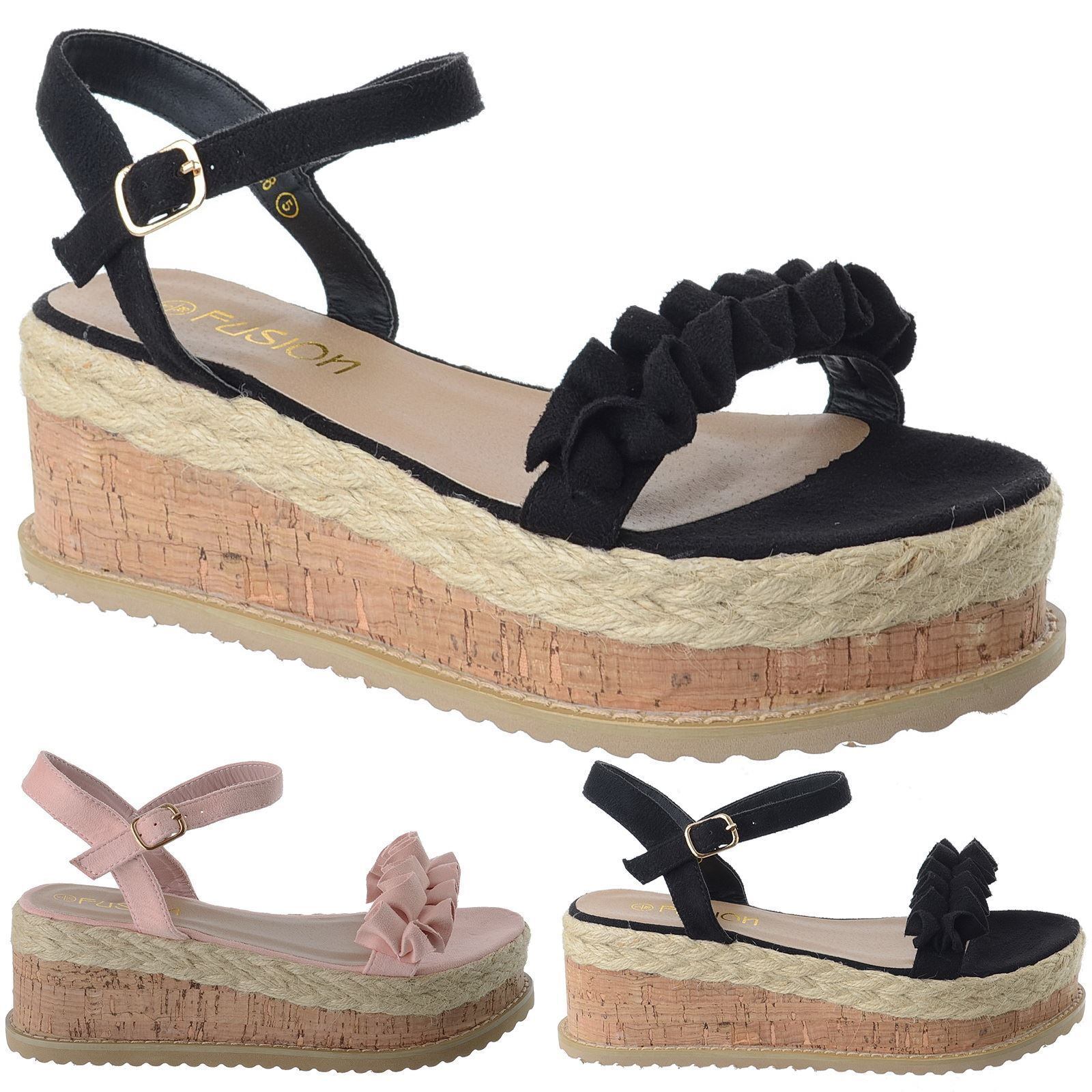 NEW LADIES WOMENS ANKLE STRAP CORK SHOES ESPADRILLE PLATFORM WEDGES SANDALS SHOES CORK SIZE 035d67