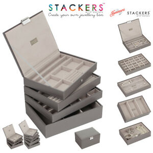 Stackers Classic Size Jewellery Boxes Trays In Mink With Grey Valvet ... 6a19793a92