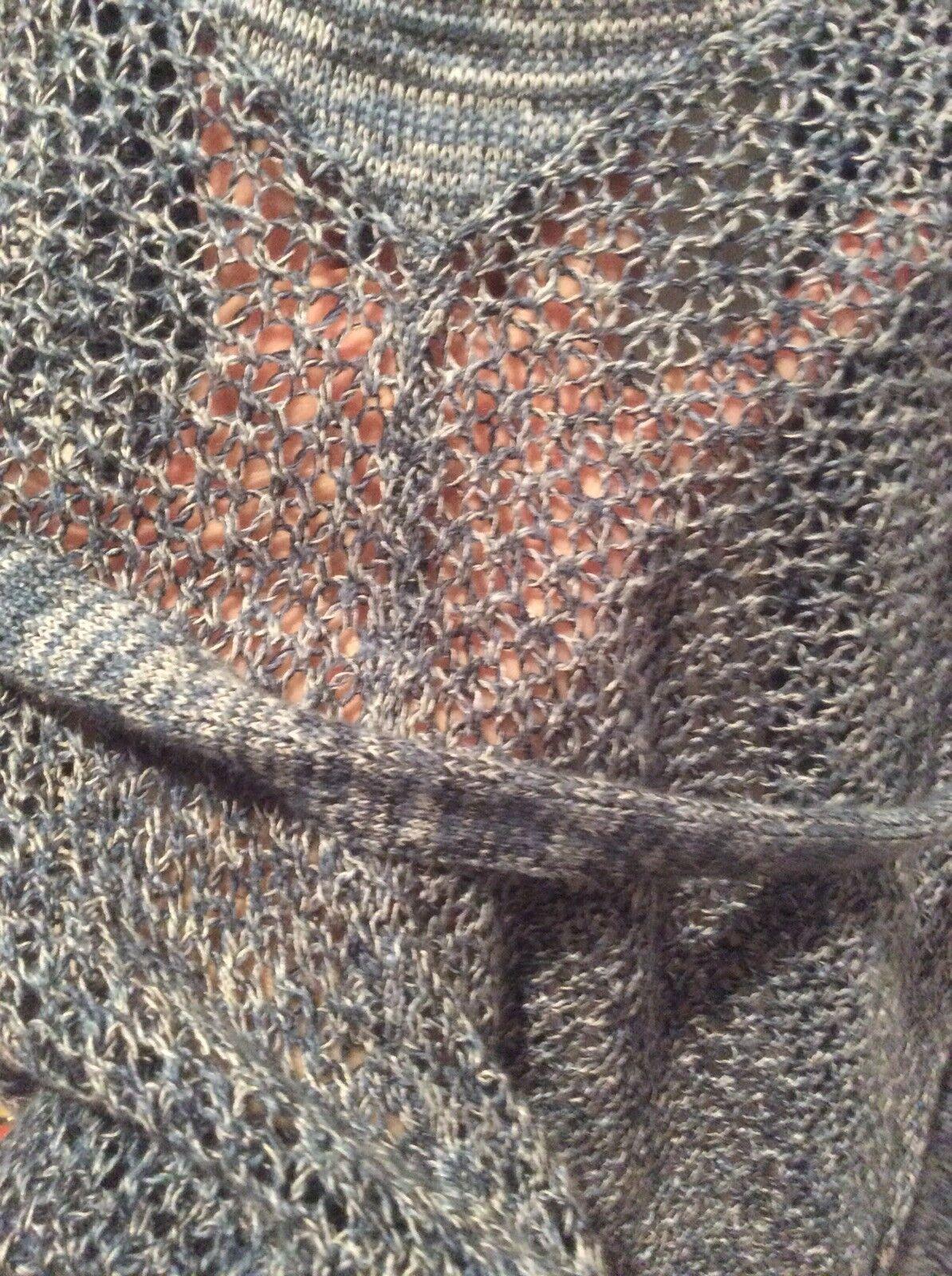 T TAHARI bluee Linen Blend Short Short Short Sleeves Open Front Belted Duster Cardigan Size M 9254cb