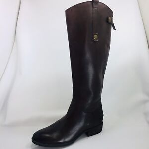 561c723ed143fd Sam Edelman Penny Brown Leather Back Zip Tall Riding Boots Womens ...