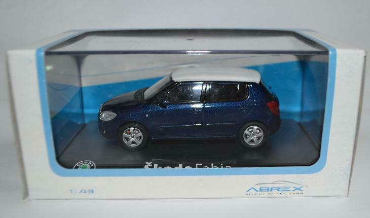 SKODA FABIA 2 2007 PHASE 1 METAL STORM blueE WHITE ROOF ABREX 143AB-008KCW 1 43