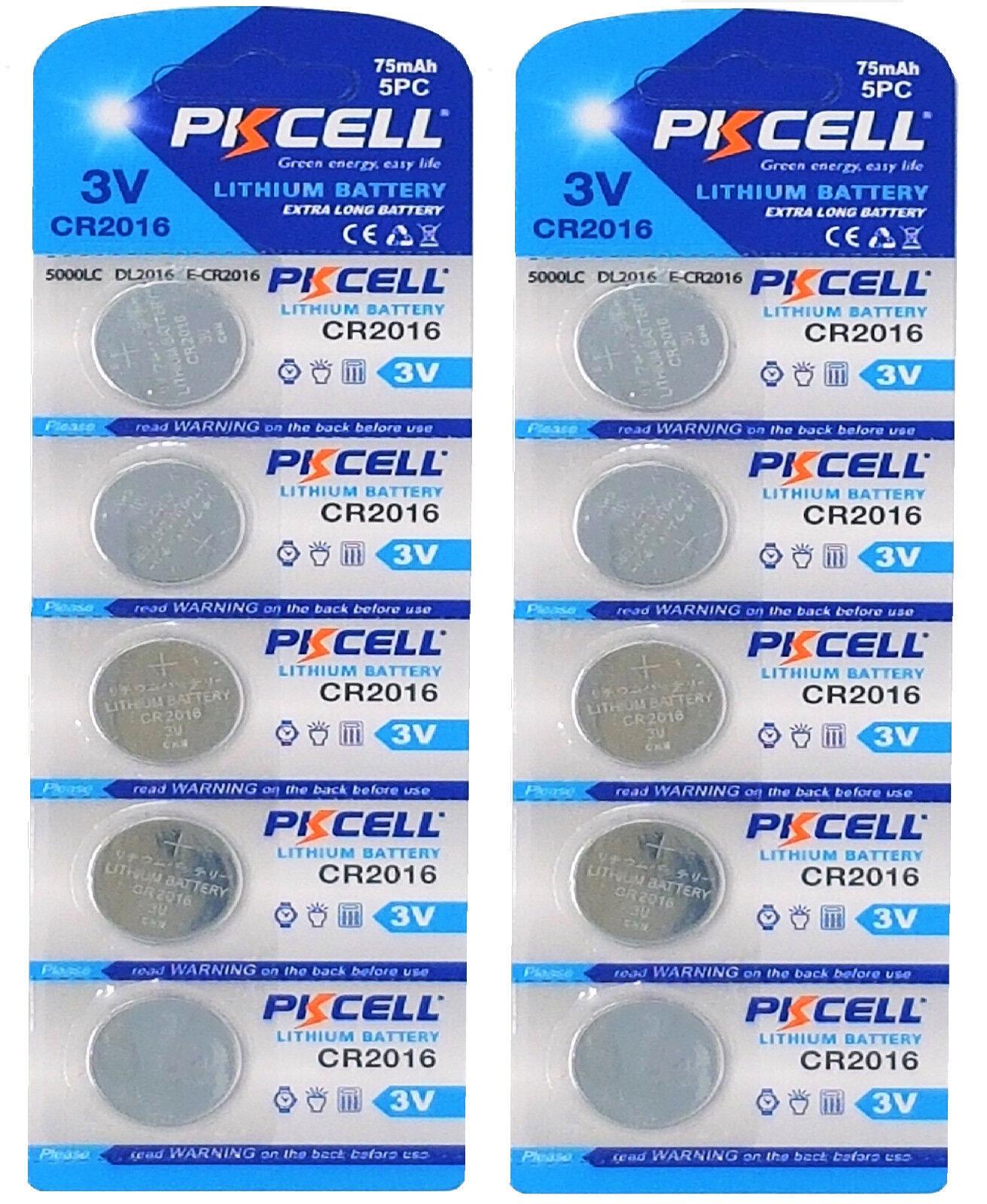 ☀ ☀ ☀ ☀ ☀ 10 x CR2016 3V Lithium Button Cell 75 Mah (2 Card A 5 batteries) PK