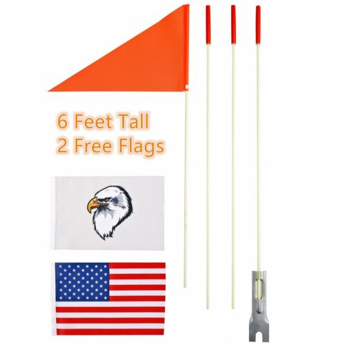 Orange Safety Flag Pole 3 Pc Holder 6 Ft Bicycle Bike Electric Wheelchair Boat