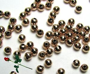 100 Boucle D'oreille 14k Laminé Or Rose 3mm Sans Boule Perles Rondes Jewelry & Watches