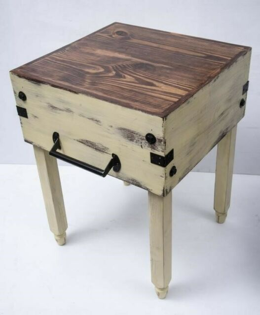 Distressed Wooden Butcher Block Kitchen Island For Sale Online