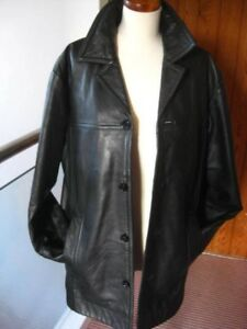 Mens Autograph Barnstormer 44 Leather Black Coat Duster s Real Long Large M 42 r4fZxqr