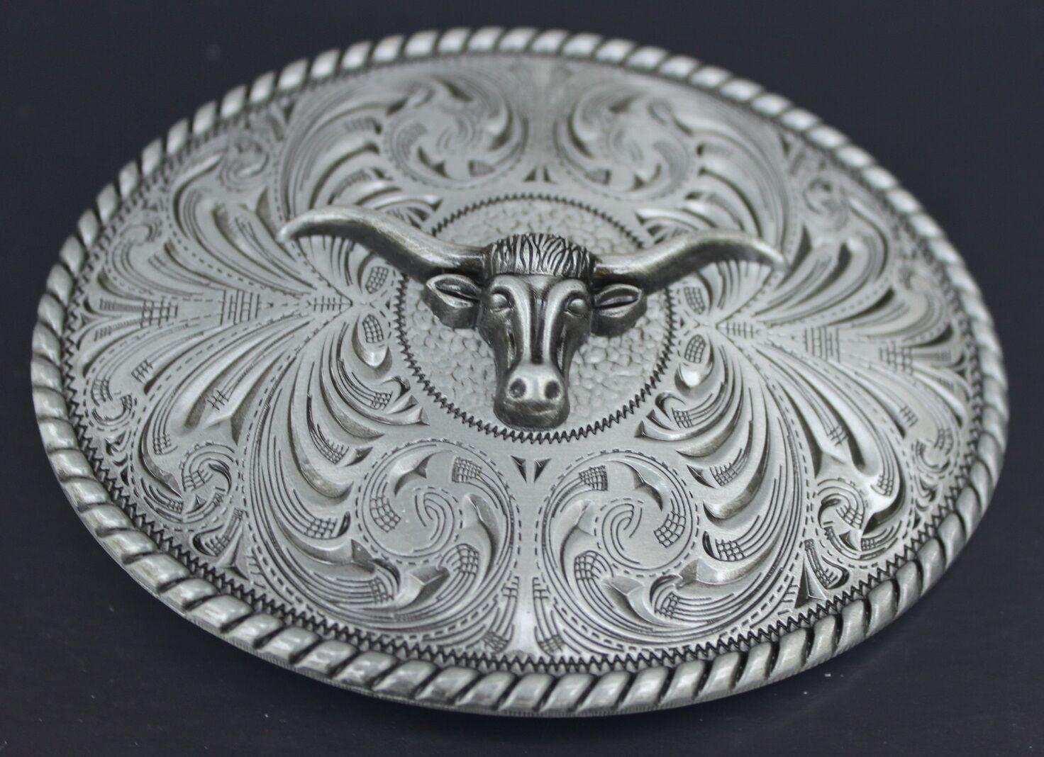 ♈ Old West steer Belt Buckle Antique silver color ♈ Cowboy Sheriff .Western