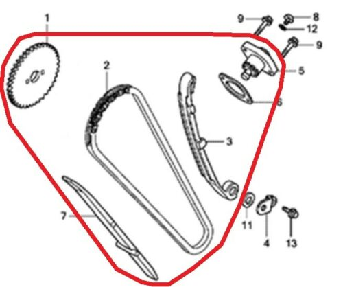 Pignon Honda CBR125 Chaîne Distribution Guide 2011-2019 Tendeur Levier