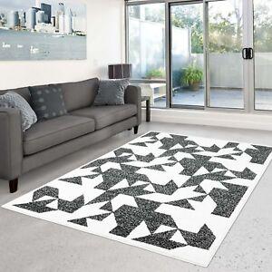 Tapis Modèle Poil Ras Design Moderne Motifs Noir-Blanc Salon | eBay